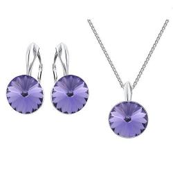 Set bijuterii Argint 925, Set SWAROVSKI Crystals Grace (2) Tanzanite + CADOU Laveta profesionala pentru curatat bijuteriile din argint