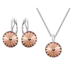 Set bijuterii Argint 925, Set SWAROVSKI Crystals Grace (2) Vintage Rose + CADOU Laveta profesionala pentru curatat bijuteriile din argint