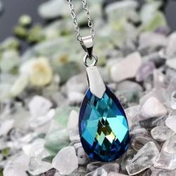 Set bijuterii argint Ocean Tear cu cristale SWAROVSKI Crystals (Set Criando Bijoux) + CADOU Laveta profesionala pentru curatat bijuteriile din argint + Cutie Cadou