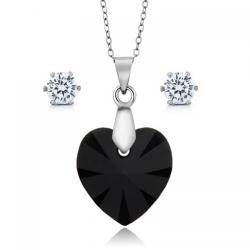 Set bijuterii Ocean Black din Argint 925 si cristale SWAROVSKI Crystals + CADOU Laveta profesionala pentru curatat bijuteriile din argin