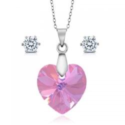 Set bijuterii Ocean Rose din Argint 925 si cristale SWAROVSKI Crystals + CADOU Laveta profesionala pentru curatat bijuteriile din argint