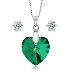 Set bijuterii Ocean Smarald din Argint 925 si cristale SWAROVSKI Crystals + CADOU Laveta profesionala pentru curatat bijuteriile din argint