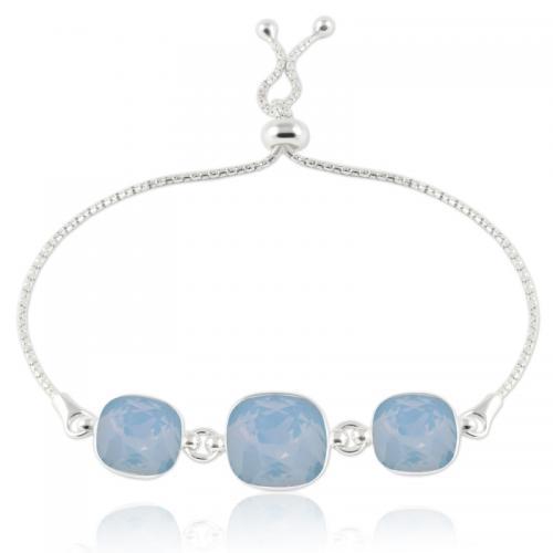 Bratara Argint 925, Bratara SWAROVSKI Crystals Triple Brilliant Blue Opal + CADOU Laveta profesionala pentru curatat bijuteriile din argint + Cutie Cadou