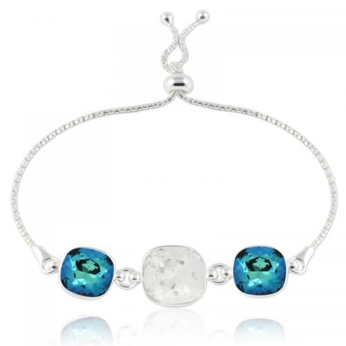 Bratara Argint 925, Bratara SWAROVSKI Crystals Triple Brilliant Crystal-Electric Blue + CADOU Laveta profesionala pentru curatat bijuteriile din argint + Cutie Cadou