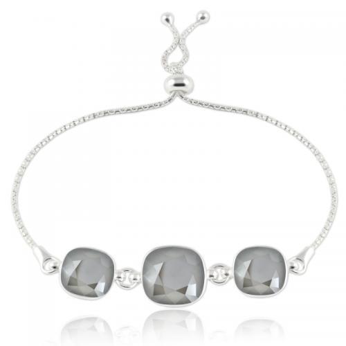 Bratara Argint 925, Bratara SWAROVSKI Crystals Triple Brilliant Dark Grey + CADOU Laveta profesionala pentru curatat bijuteriile din argint + Cutie Cadou