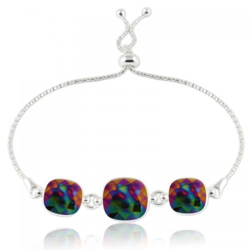 Bratara Argint 925, Bratara SWAROVSKI Crystals Triple Brilliant Dark Rainbow + CADOU Laveta profesionala pentru curatat bijuteriile din argint + Cutie Cadou