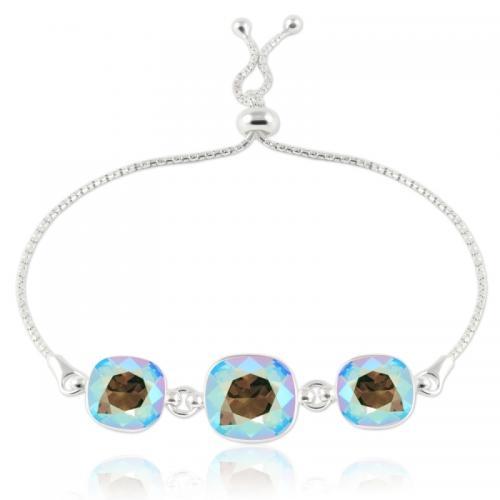 Bratara Argint 925, Bratara SWAROVSKI Crystals Triple Brilliant Diamond Shimmer + CADOU Laveta profesionala pentru curatat bijuteriile din argint + Cutie Cadou