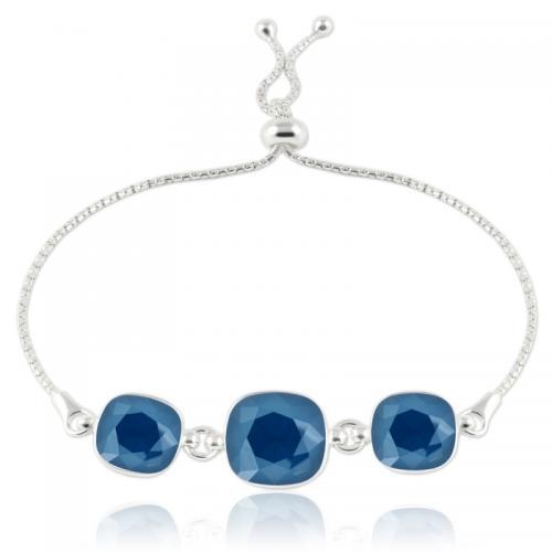 Bratara Argint 925, Bratara SWAROVSKI Crystals Triple Brilliant Royal Blue + CADOU Laveta profesionala pentru curatat bijuteriile din argint + Cutie Cadou