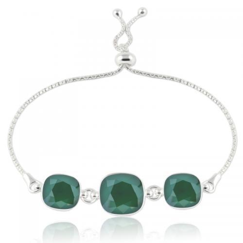 Bratara Argint 925, Bratara SWAROVSKI Crystals Triple Brilliant Royal Green + CADOU Laveta profesionala pentru curatat bijuteriile din argint + Cutie Cadou