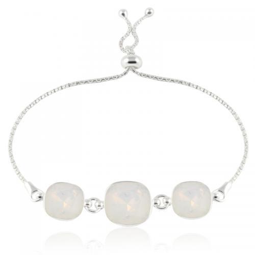 Bratara Argint 925, Bratara SWAROVSKI Crystals Triple Brilliant White Opal + CADOU Laveta profesionala pentru curatat bijuteriile din argint + Cutie Cadou