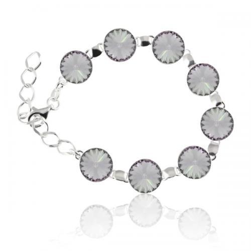 Bratara Argint 925, Bratara SWAROVSKI Grace Smoky Mauve + CADOU Laveta profesionala pentru curatat bijuteriile din argint + Cutie Cadou