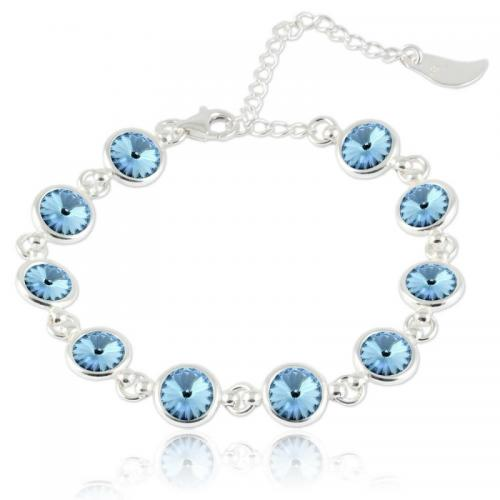 Bratara Argint 925, Bratara SWAROVSKI Shine Aquamarine + CADOU Laveta profesionala pentru curatat bijuteriile din argint + Cutie Cadou