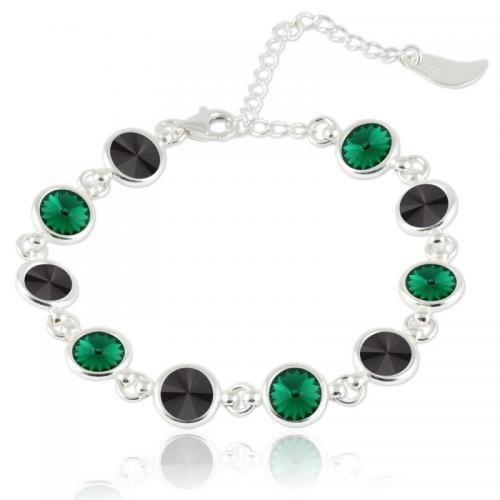 Bratara Argint 925, Bratara SWAROVSKI Shine Black Emerald + CADOU Laveta profesionala pentru curatat bijuteriile din argint + Cutie Cadou