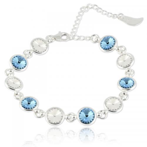 Bratara Argint 925, Bratara SWAROVSKI Shine Crystal Aquamarine + CADOU Laveta profesionala pentru curatat bijuteriile din argint + Cutie Cadou