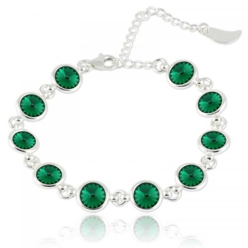 Bratara Argint 925, Bratara SWAROVSKI Shine Emerald + CADOU Laveta profesionala pentru curatat bijuteriile din argint + Cutie Cadou