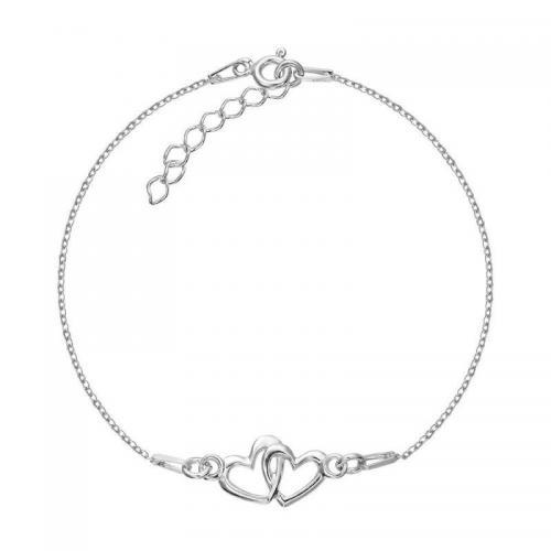 Bratara Iubirii Argint 925 placata cu Rodiu ALB si charm cu doua inimi + CADOU Laveta profesionala pentru curatat bijuteriile din argint