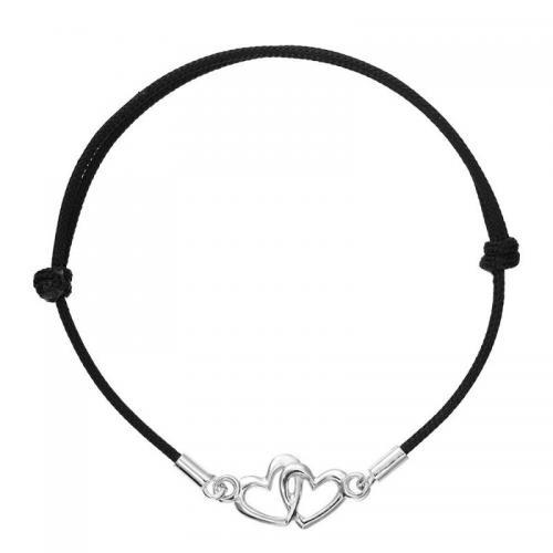 Bratara Kabbalah din snur negru si charm Argint 925 cu doua inimi