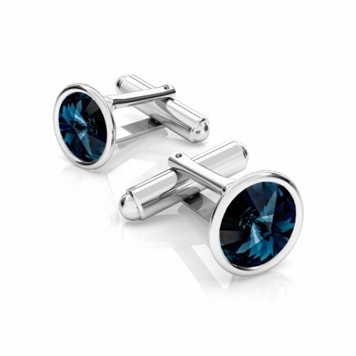 Butoni Argint 925, Butoni SWAROVSKI Blue Crystals 12mm +CADOU Laveta profesionala pentru curatat bijuteriile din argint - Butoni Camasa Criando Bijoux -
