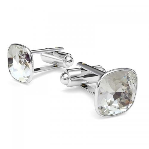 Butoni Argint 925, Butoni SWAROVSKI Brilliant Crystal Clear + CADOU Laveta profesionala pentru curatat bijuteriile din argint
