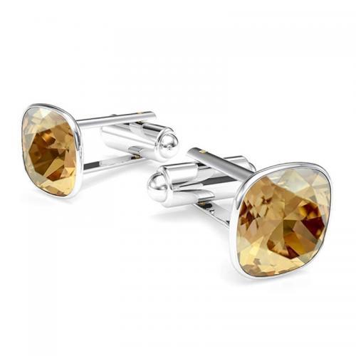 Butoni Argint 925, Butoni SWAROVSKI Brilliant Gold + CADOU Laveta profesionala pentru curatat bijuteriile din argint