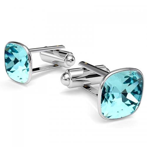 Butoni Argint 925, Butoni SWAROVSKI Brilliant Light Turquoise + CADOU Laveta profesionala pentru curatat bijuteriile din argint