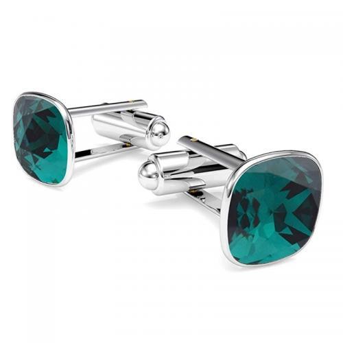 Butoni Argint 925, Butoni SWAROVSKI Brilliant Smarald + CADOU Laveta profesionala pentru curatat bijuteriile din argint