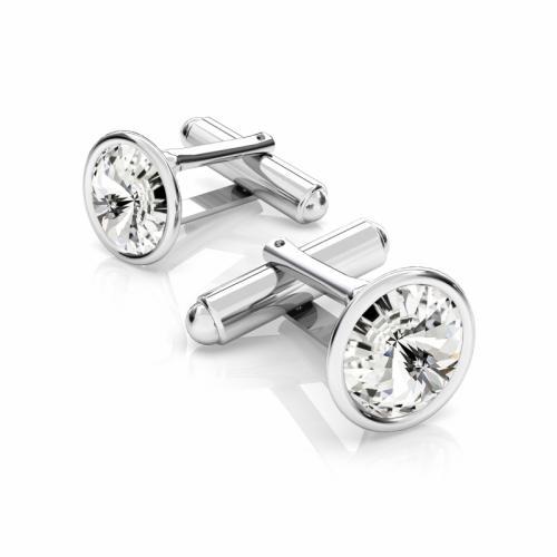 Butoni Argint 925, Butoni SWAROVSKI Crystal Clear 12mm + CADOU Laveta profesionala pentru curatat bijuteriile din argint - Butoni Camasa Criando Bijoux -