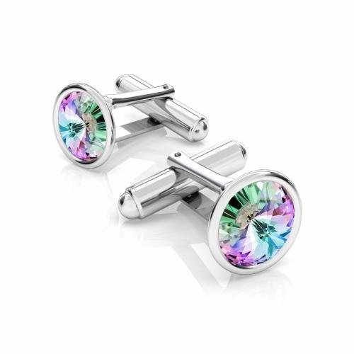 Butoni Argint 925, Butoni SWAROVSKI Crystals Vitral Light 12mm + CADOU Laveta profesionala pentru curatat bijuteriile din argint - Butoni Camasa Criando Bijoux -