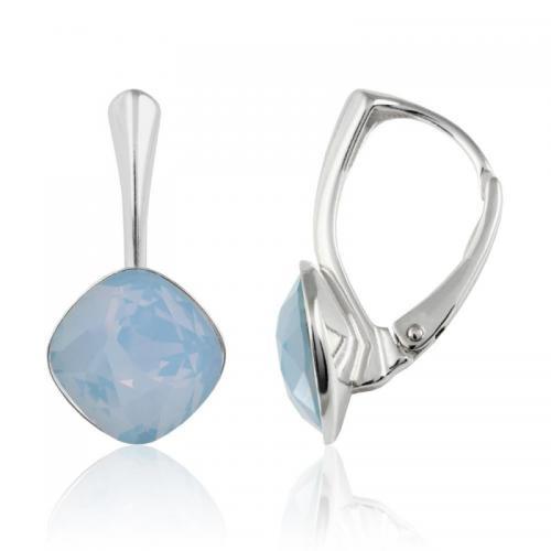 Cercei Argint 925, Cercei SWAROVSKI Brilliant Air Blue Opal 10mm + CADOU Laveta profesionala pentru curatat bijuteriile din argint + Cutie Cadou