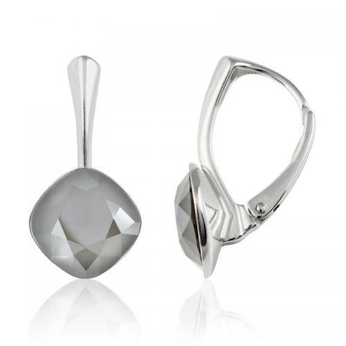 Cercei Argint 925, Cercei SWAROVSKI Brilliant Dark Grey 10mm + CADOU Laveta profesionala pentru curatat bijuteriile din argint + Cutie Cadou