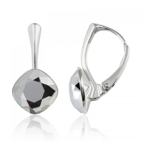 Cercei Argint 925, Cercei SWAROVSKI Brilliant Light Chrome 10mm + CADOU Laveta profesionala pentru curatat bijuteriile din argint + Cutie Cadou