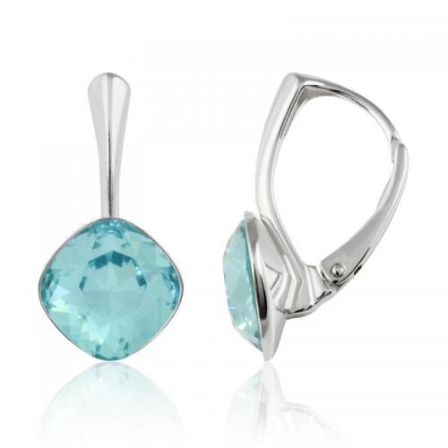 Cercei Argint 925, Cercei SWAROVSKI Brilliant Light Turquoise 10mm + CADOU Laveta profesionala pentru curatat bijuteriile din argint + Cutie Cadou