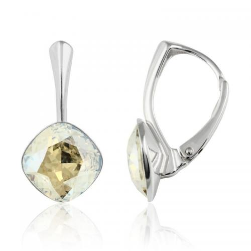 Cercei Argint 925, Cercei SWAROVSKI Brilliant Moonlight 10mm + CADOU Laveta profesionala pentru curatat bijuteriile din argint + Cutie Cadou