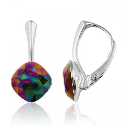 Cercei Argint 925, Cercei SWAROVSKI Brilliant Rainbow Dark 10mm + CADOU Laveta profesionala pentru curatat bijuteriile din argint + Cutie Cadou