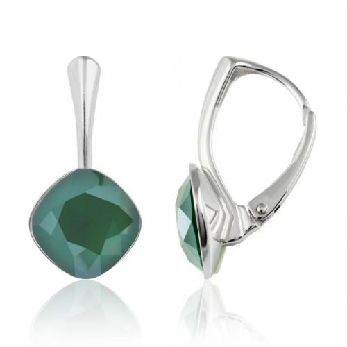 Cercei Argint 925, Cercei SWAROVSKI Brilliant Royal Green 10mm + CADOU Laveta profesionala pentru curatat bijuteriile din argint + Cutie Cadou