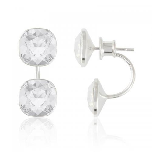 Cercei Argint 925, Cercei SWAROVSKI Crystals Brilliant (2) Clear + CADOU Laveta profesionala pentru curatat bijuteriile din argint