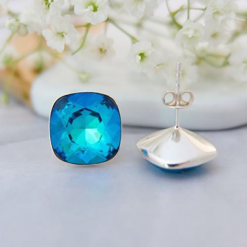 Cercei Argint 925, Cercei SWAROVSKI Crystals Brilliant Electric Blue + CADOU Laveta profesionala pentru curatat bijuteriile din argint + Cutie Cadou