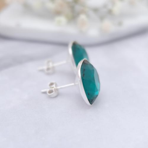 Cercei Argint 925, Cercei SWAROVSKI Crystals Brilliant Emerald + CADOU Laveta profesionala pentru curatat bijuteriile din argint + Cutie Cadou