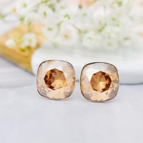 Cercei Argint 925, Cercei SWAROVSKI Crystals Brilliant Gold + CADOU Laveta profesionala pentru curatat bijuteriile din argint
