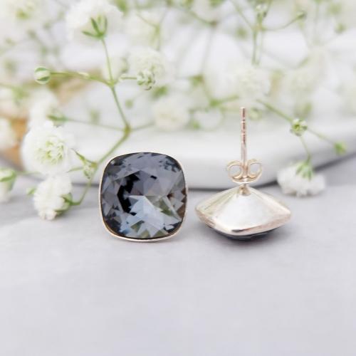 Cercei Argint 925, Cercei SWAROVSKI Crystals Brilliant Night + CADOU Laveta profesionala pentru curatat bijuteriile din argint