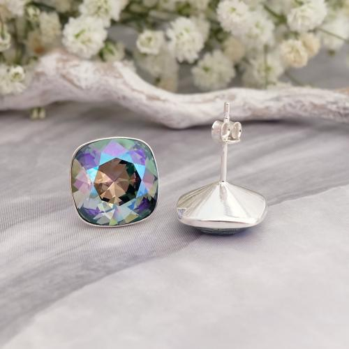 Cercei Argint 925, Cercei SWAROVSKI Crystals Brilliant Paradise + CADOU Laveta profesionala pentru curatat bijuteriile din argint