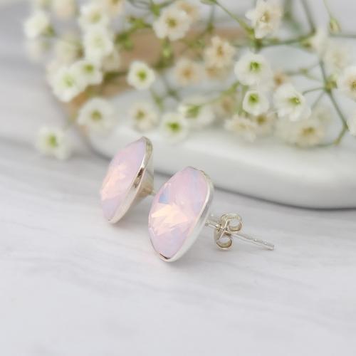 Cercei Argint 925, Cercei SWAROVSKI Crystals Brilliant Rose Opal + CADOU Laveta profesionala pentru curatat bijuteriile din argint + Cutie Cadou