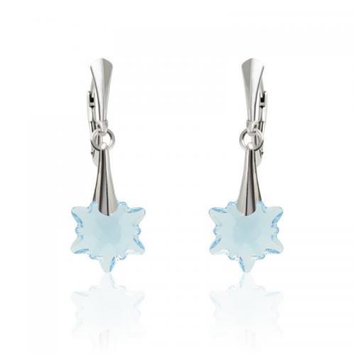 Cercei Argint 925, Cercei SWAROVSKI Crystals Edelweiss Aquamarine + CADOU Laveta profesionala pentru curatat bijuteriile din argint