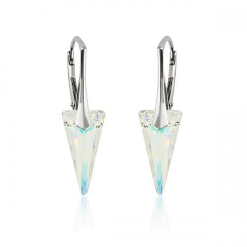 Cercei Argint 925, Cercei SWAROVSKI Crystals Fashion Aurora Boreala + CADOU Laveta profesionala pentru curatat bijuteriile din argint + Cutie Cadou