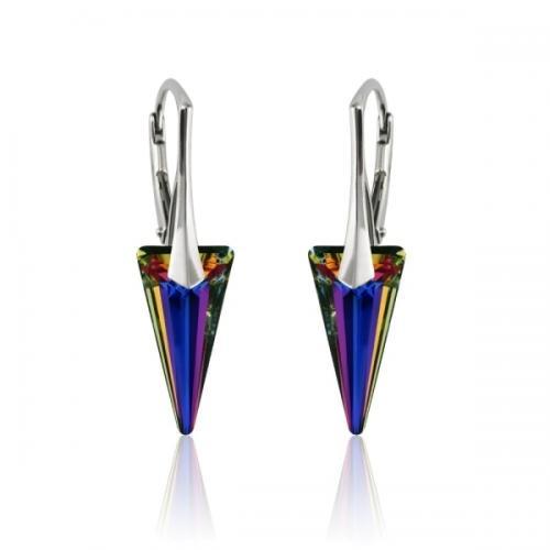 Cercei Argint 925, Cercei SWAROVSKI Crystals Fashion Volcano + CADOU Laveta profesionala pentru curatat bijuteriile din argint + Cutie Cadou