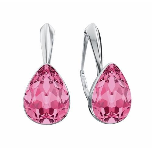 Cercei Argint 925, Cercei SWAROVSKI Crystals Glamour Rose + CADOU Laveta profesionala pentru curatat bijuteriile din argint