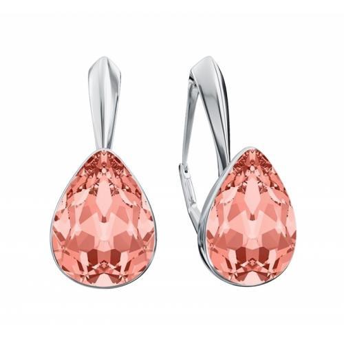 Cercei Argint 925, Cercei SWAROVSKI Crystals Glamour Rose Peach + CADOU Laveta profesionala pentru curatat bijuteriile din argint