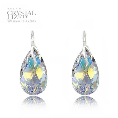 Cercei Argint 925, Cercei SWAROVSKI Crystals Style (2) Aurore Boreale + CADOU Laveta profesionala pentru curatat bijuteriile din argint