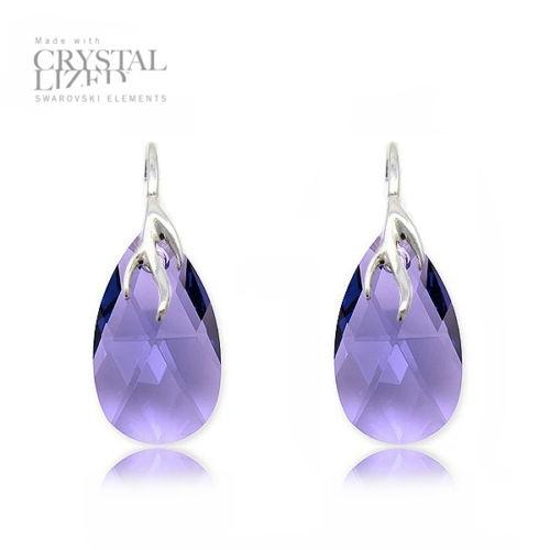 Cercei Argint 925, Cercei SWAROVSKI Crystals Style (2) Violet + CADOU Laveta profesionala pentru curatat bijuteriile din argint