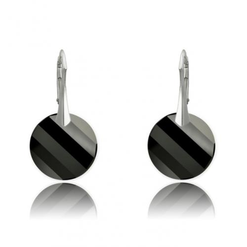 Cercei Argint 925, Cercei SWAROVSKI Crystals Twist Black + CADOU Laveta profesionala pentru curatat bijuteriile din argint